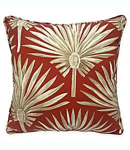 Cojín decorativo cuadrado de poliéster Destination Summer con palmas color rojo