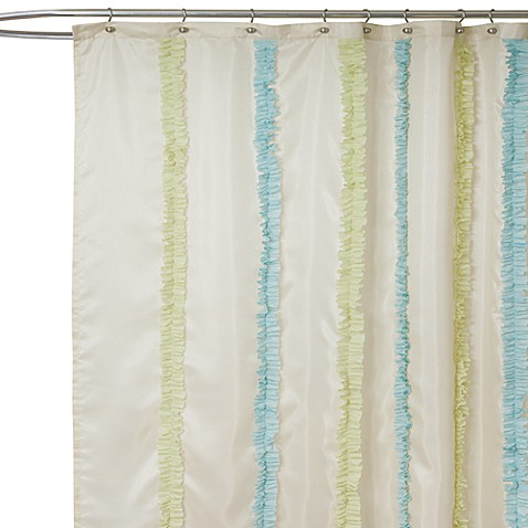 Aria Blue And Green Fabric Shower Curtain Bed Bath Beyond