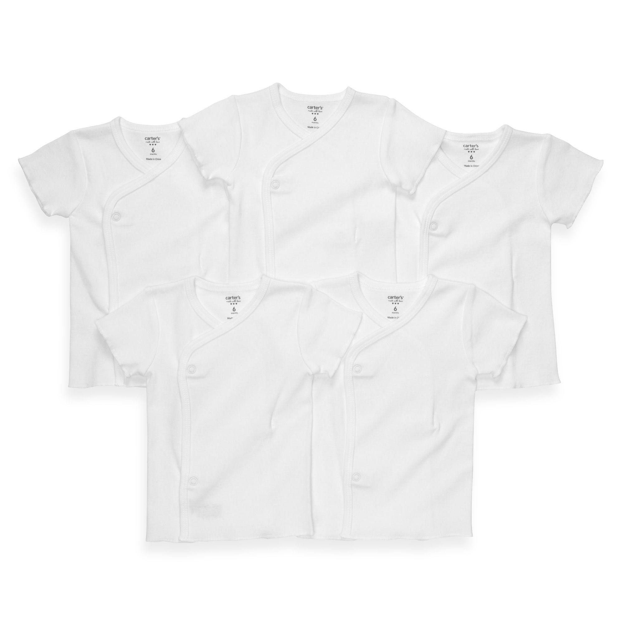 carter s 5 Pack Newborn White Side Snap Undershirts BABY