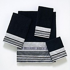 image of Avanti Geneva Bath Towel Collection in Black/Silver