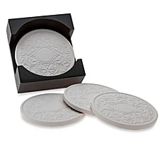 image of Embossed Coasters with Holder (Set of 4)
