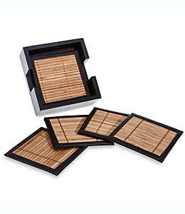 Portavasos de bambú y piel con base, Set de 6