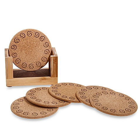 cork and bamboo coasters with holder set of 6 bed bath beyond. Black Bedroom Furniture Sets. Home Design Ideas