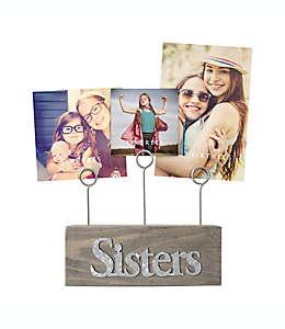 """SixTrees """"Sisters"""" Base de madera con clips para 3 fotografías en gris"""