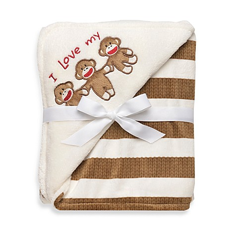 Baby starters sock monkey blanket in cream stripe bed for Starter bed