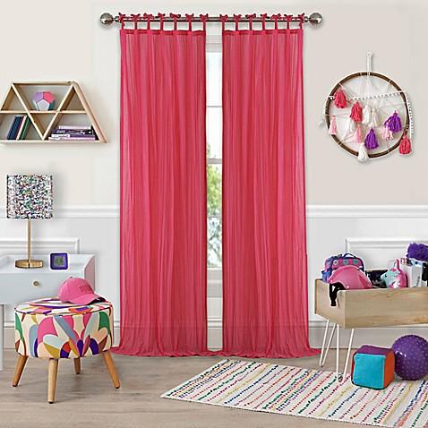 Buy Greta Crushed Sheer Tie Top Window Curtain Panel 84 Inch Pink From Bed Bath Beyond
