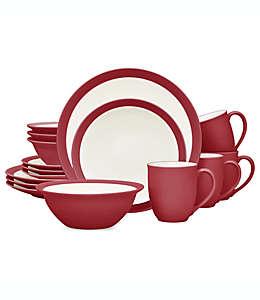 Vajilla de cerámica Noritake® Colorwave Curve color frambuesa, Set de 16 piezas