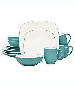 Vajilla cuadrada de cerámica Noritake® Colorwave color turquesa