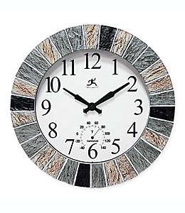 Reloj de pared para interiores/exteriores Infinity Instruments® con termómetro
