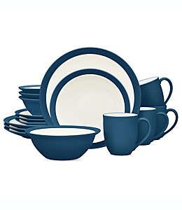 Vajilla de cerámica Noritake® Colorwave Curve color azul, Set de 16 piezas