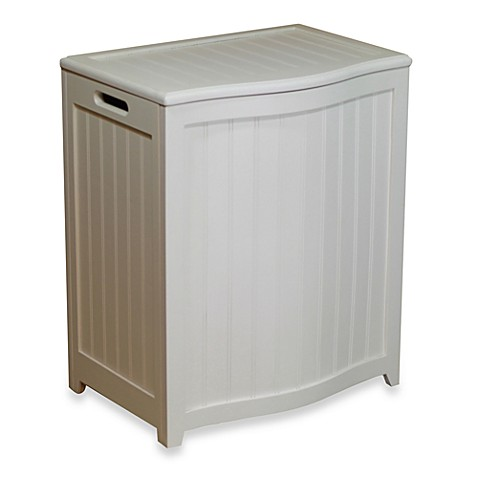 Oceanstar Bowed Front Wood Laundry Hamper in White