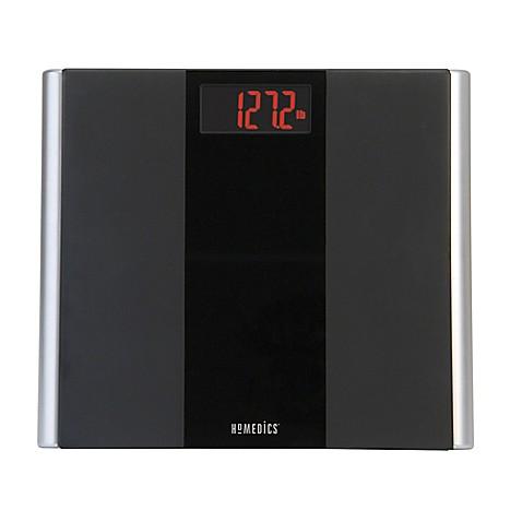 homedics® black glass led digital bathroom scale - bed bath & beyond