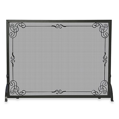 UniFlame® S-1025 44-Inch Black Wrought Iron Fireplace Screen
