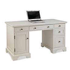 image of home styles naples pedestal desk in white finish