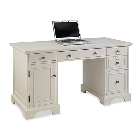 home styles naples pedestal desk in white finish bed