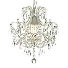 image of Wrought Iron and Crystal 1-Light Chandelier