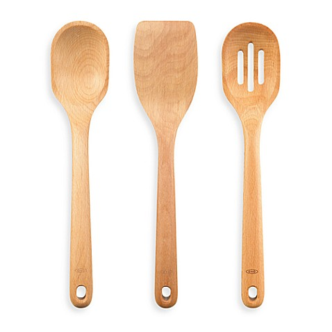 Oxo good grips 3 piece wooden utensil set bed bath beyond for Bathroom utensils