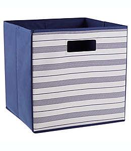 Contenedor cuadrado plegable Prairie Stripe .ORG™ de 33.02 cm en natural/azul marino