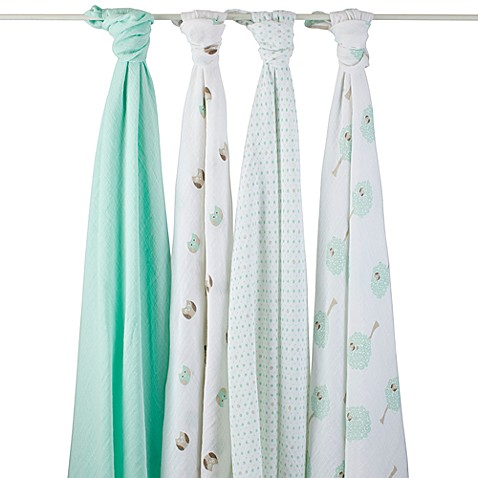 aden® by aden + anais® Goodnight Owl Muslin 4-Pack swaddleplus® Blankets