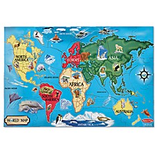 image of Melissa & Doug® World Map 33-Piece Floor Puzzle
