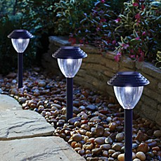 image of solar pathway lights in black set of 6 bed bath and beyond lighting