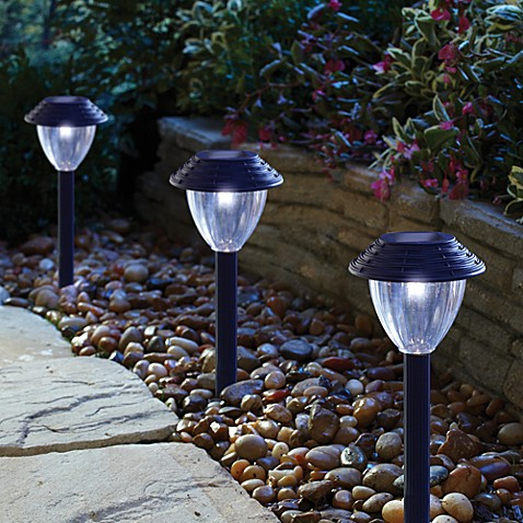Buy solar pathway lights in black set of 6 from bed bath for Outdoor pathway lighting sets