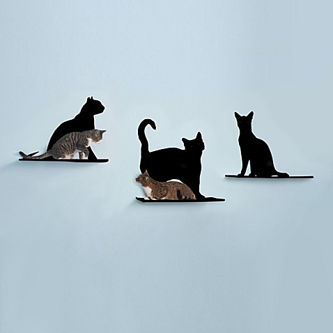 The Refined Feline Cat Silhouette Cat Shelves (Set of 3)