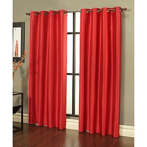 Buy Sherry Kline Faux Silk Grommet Top 84 Inch Window Curtain Panels In Cherry Red Set Of 2