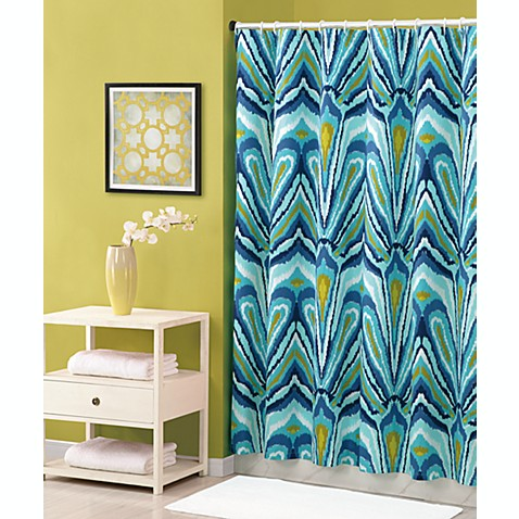 Curtains Ideas bed bath and beyond bathroom curtains : Trina Turk® 72-Inch x 72-Inch Shower Curtain in Blue Peacock - Bed ...