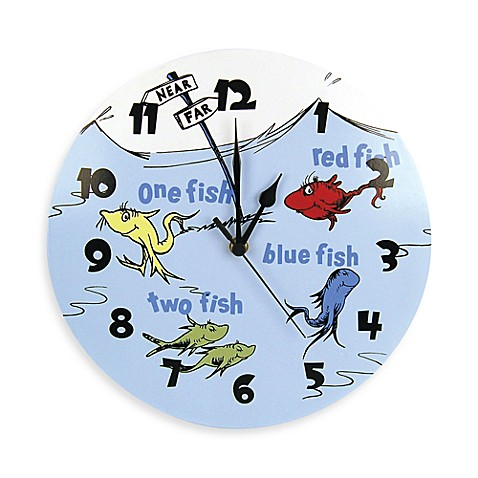 Dr seuss by trend lab one fish two fish wall clock for Blue fish pediatrics