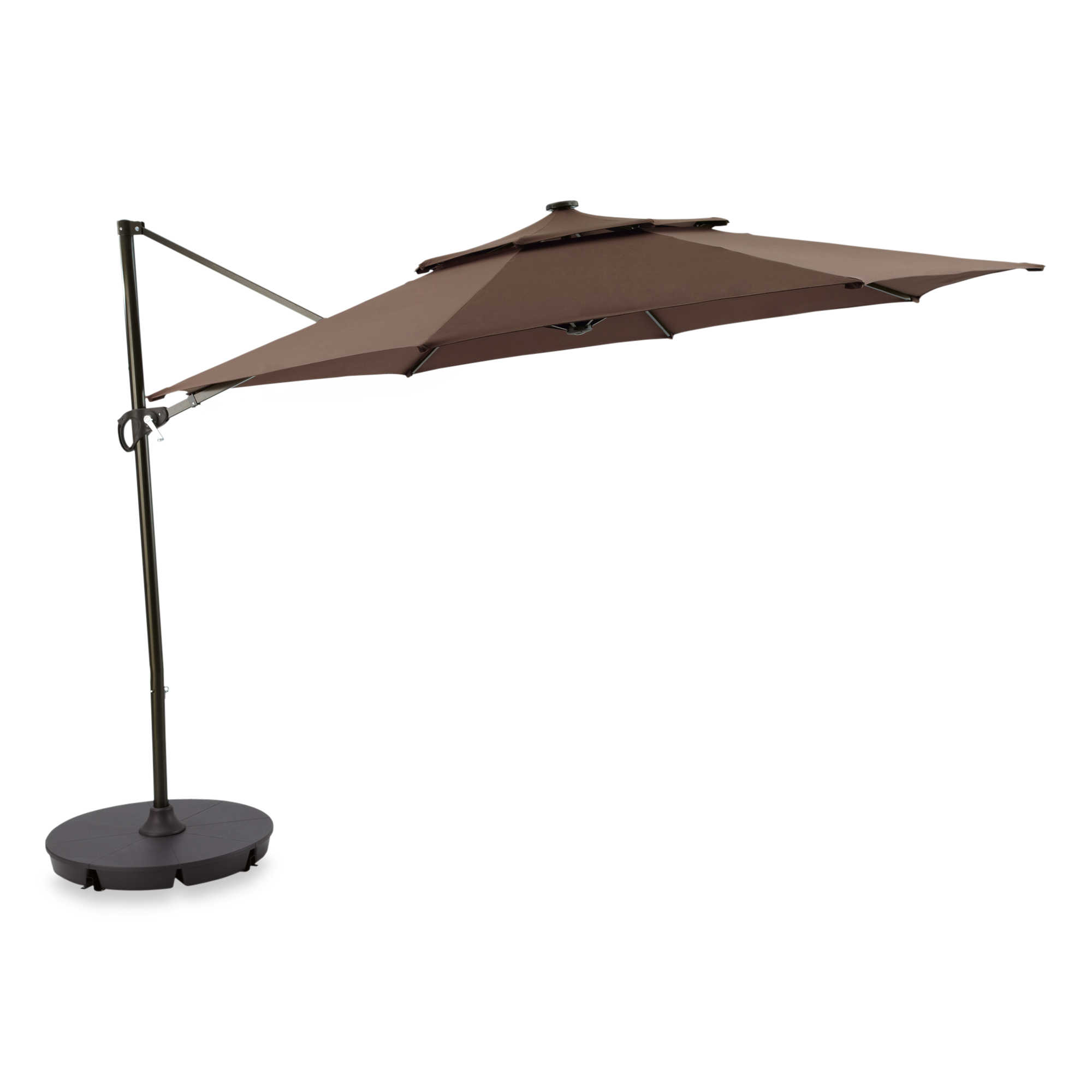 11 foot round umbrella cantilever offset solar led lighted patio shade awning ebay. Black Bedroom Furniture Sets. Home Design Ideas