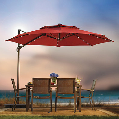 11 Foot Round Umbrella Red Offset Cantilever Solar Shade ...