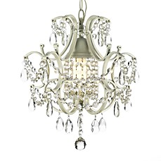 image of Wrought Iron & Crystal 1-Light Chandelier in White