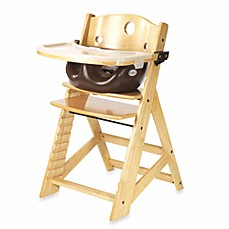 image of Keekaroo® Height Right High Chair Natural with Chocolate Infant Insert and Tray