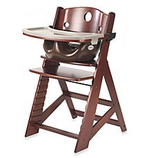 image of Keekaroo® Height Right High Chair Mahogany with Chocolate Infant Insert and Tray