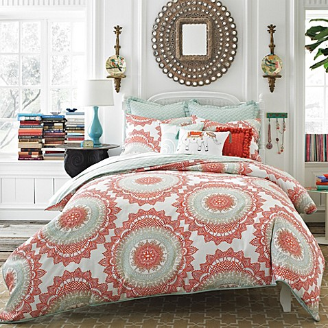 Anthology Bungalow Reversible Comforter Set In Coral Bed Bath
