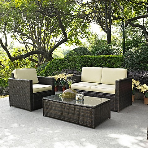 Palm harbor collection 3 piece outdoor wicker seating set - Bed bath and beyond palm beach gardens ...