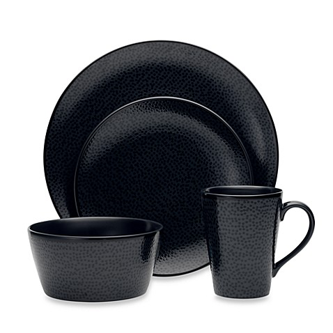 Noritake® Black on Black Snow 4-Piece Round Place Setting