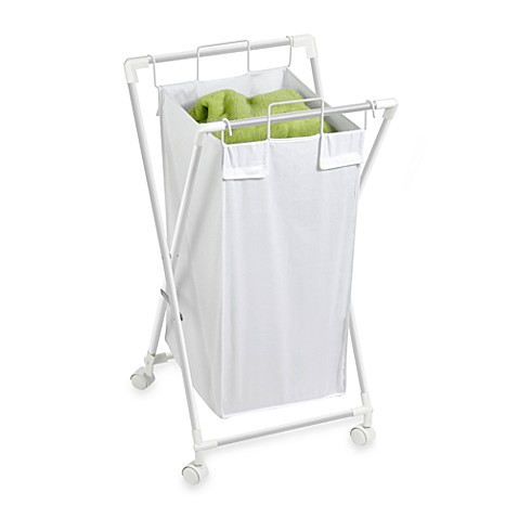 Honey-Can-Do® Steel Folding Single Hamper in White