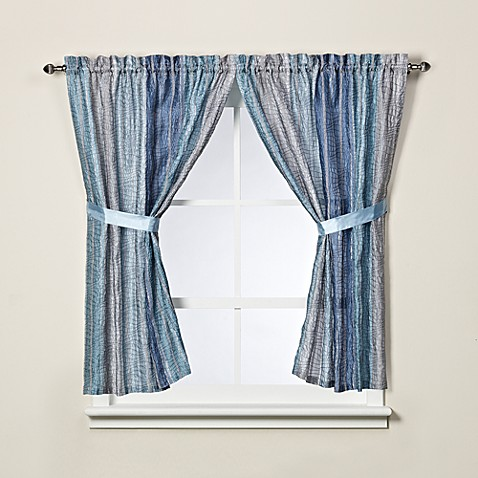 Sierra Blue Bath Window Curtain Panel Pair