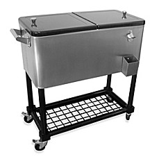 image of 80quart stainless steel cooler with tray