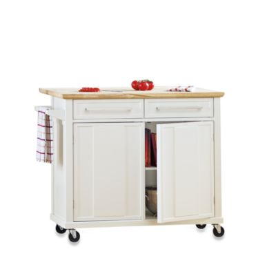 Real Simple Rolling Kitchen Island in White Bed Bath Beyond