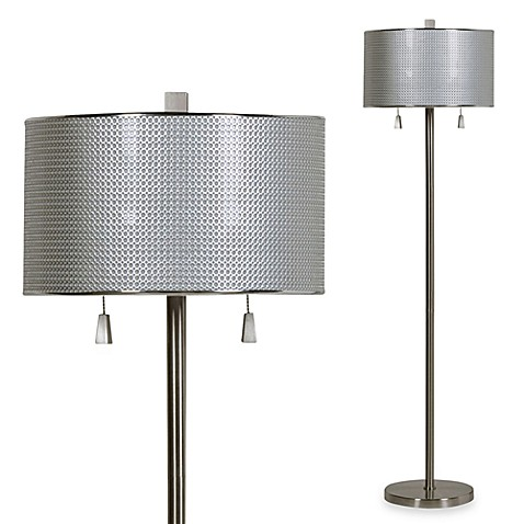 Circles floor lamp in brushed steel with cfl bulbs bed bath beyond circles floor lamp in brushed steel with cfl bulbs mozeypictures Image collections