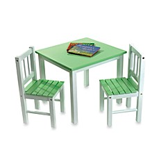 image of Lipper International Green/White Table & Chairs Set