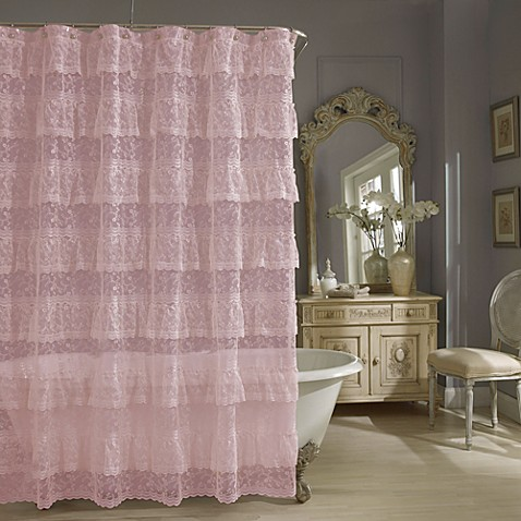 Buy Priscilla Lace Shower Curtain In Pink From Bed Bath