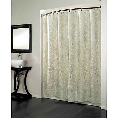Curtains Ideas bed bath and beyond bathroom curtains : Forest 70-Inch x 72-Inch Fabric Metallic Print Shower Curtain ...