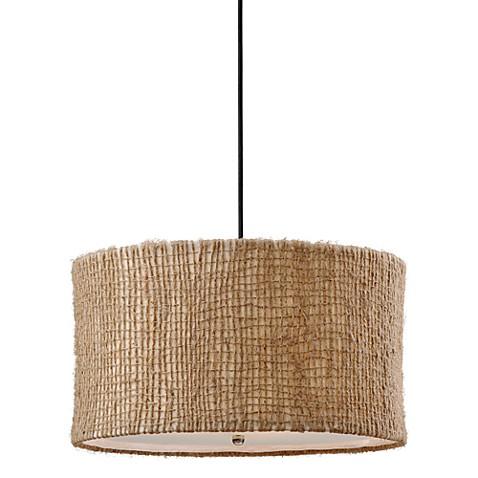 Uttermost 3 Light Fabric Natural Burleson Drum Pendant