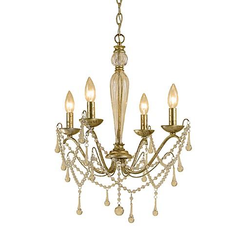 AF Lighting Sophia Candle Base Mini Chandelier In Soft Gold With Glass Accent