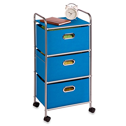 Honey-Can-Do® Steel 3-Drawer Rolling Fabric Cart in Silver/Blue