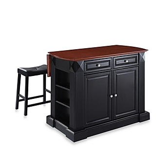kitchen island furniture. image of Crosley Drop Leaf Breakfast Bar Top Kitchen Island with  Upholstered Saddle Stools Islands Carts Portable Bed Bath Beyond